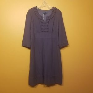 Boden | Purple/Navy Midi Wool Dress (Size 14L)